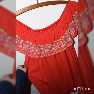 ✨Red Off the Shoulder Summer Dress